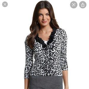 White House Black Market Leopard Print Cardigan